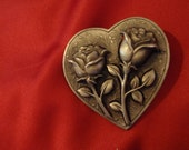 Vintage Heart for Valentine Roses Double Sculpted On One Heart By JJ in Silver Tone