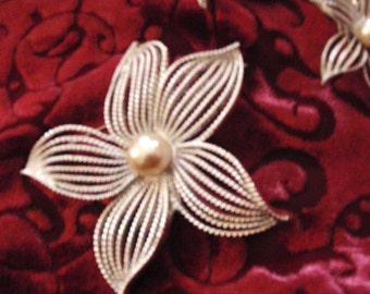 Vintage Earrings and Brooch Signed Sarah Coventry In Silver Tone with a Pearl
