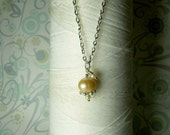 HALF PRICE - Precious Little Pearl - peach pearl necklace / pearl necklace / sterling silver / bridal jewelry / champagne pearls