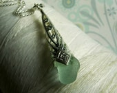 Imperial Cones - aqua seaglass necklace / sea glass necklace / blue seaglass / blue necklace / blue beach glass / something blue