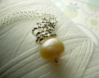 Jump In the Water is Fine - peach pearl necklace /  ivory pearl necklace / pearl necklace / peach necklace / bridal jewelry / pearl jewelry