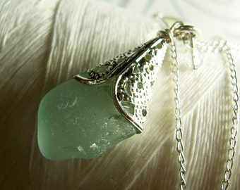 Silver Petticoats - aqua sea glass necklace / seaglass necklace / sea glass necklace / aqua necklace / wedding jewelry / beach jewelry
