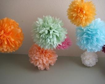 SALE - 20 Tissue Pom Kit - Pick your colors - Wedding Deluxe DIY Kit - as seen on Porltandia Cool Wedding - Crafty Wonderland Portland