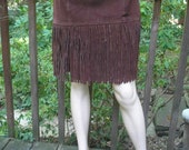Vintage Cocoa Suede Fringe Skirt 80s 70s Mod Go Go Western Cow Girl