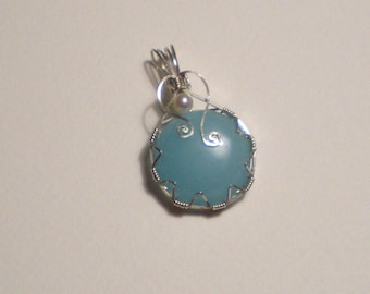 Blue Aventurine and  Cultured Pearl Sterling Silver Pendant