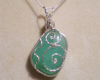 Chrysoprase sterling silver wire wrapped pendant