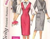 Simplicity 3631- 1960s Mad Men Wiggle V Neck Jumper and Blouse Vintage Sewing Pattern Bust 31.5