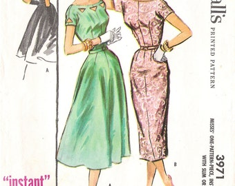 """McCalls 3971 1950's Tight Fitting Two-Piece Dress with Cut-outs Vintage Sewing Pattern  Size 14 Bust 34 """"Instant"""" Dress"""