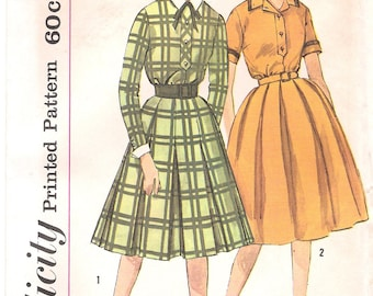 Simplicity 3645 UNCUT 1960s Shirtwaist Dress Vintage Sewing Pattern Full Skirt Detachable Collar and Cuffs Bust 32 or Bust 34