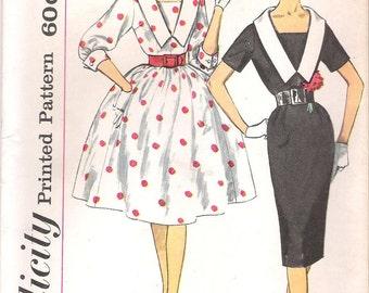 Simplicity 3320 UNCUT 1960s V-Neck Mad Men Dress Vintage Sewing Pattern Size 14 Bust 34 Full or Wiggle Skirt