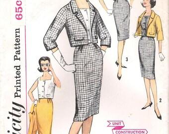 Simplicity 3357 UNCUT 1960s Mad Men Secretary Suit Vintage Sewing Sewing Pattern Wiggle Skirt Top Short Jacket Bust 34 31