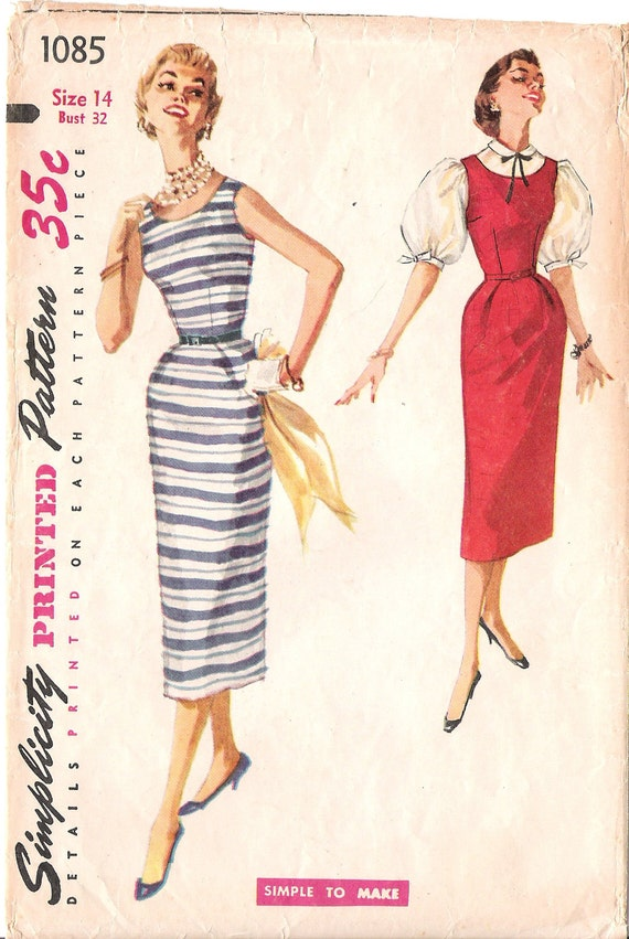 Simplicity 1085 - 1950s Rockabilly Wiggle Dress Jumper and Blouse Vintage Sewing Pattern Bust 32