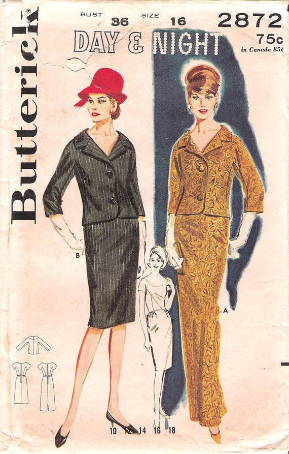 Rare Vintage 1960's Misses' Mad Men Day or Night Ensemble with Short Jacket and Wiggle Dress, Butterick Sewing Pattern 2872, Bust 36