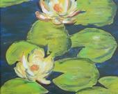 LILY POND Original Acrylic Painting 11X14
