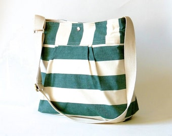 Diaper bag -Everyday Purse - Messenger Water resistant - STOCKHOLM Large Stripes Emerald Green -10 pockets