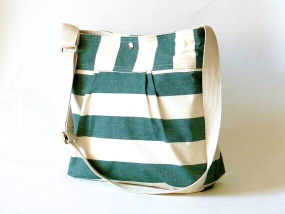 Diaper bag -Everyday Purse - Messenger Water resistant - STOCKHOLM Large Stripes Emerald Green -10 pockets
