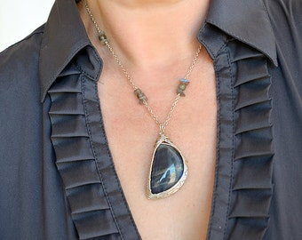 Labradorite Moon Sterling Silver Necklace Free Shipping