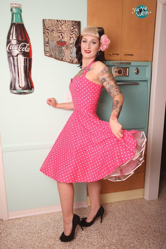 Items similar to Lucy Halter Dress in Pink and White Polka Dot on Etsy