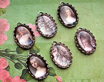 6 Pcs FRENCH-Queen MARIE ANTOINETTE Handmade Portrait Photo Charms-Let them Eat Cake-Marie Antoinette Charms-French Charms-Queen charms