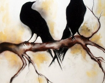 Original Charcoal Drawing Ravens on a Branch LARGE Drawing 30x20""