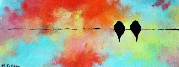 """Exotic birds on a wire Original Bird Painting, Abstract Painting, Deep edge canvas 12x6"""""""