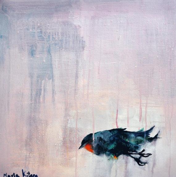 Bird study 8 - Original Abstract Painting, Bird study 20x20 inch
