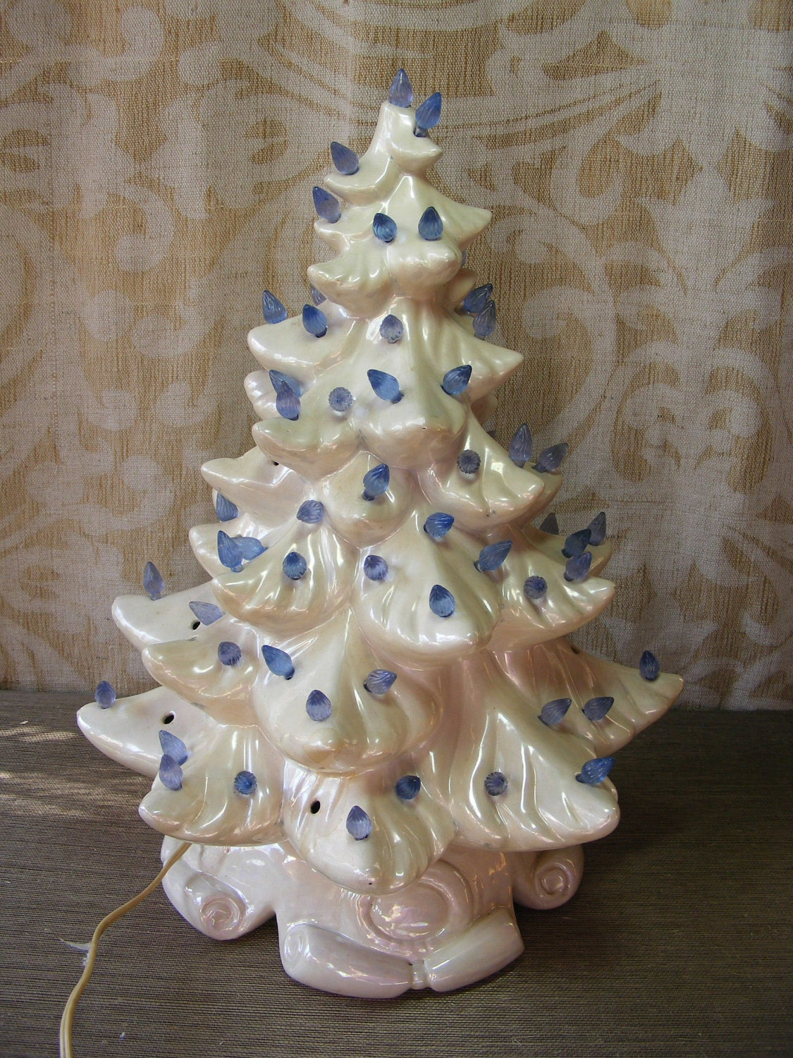Vintage Christmas Tree White Ceramic Large Lighted Holiday