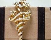 Vintage Silver and Gold Rhinestone Brooch