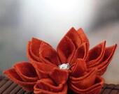 Orange Brooch: Japanese Silk Flowers, Tsumami Kanzashi - Fire Blossom
