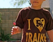 I Love Trains- (ink free) Kids and Toddler Boys Tshirt - High Quality- Train Shirt, steam engine, train party