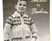 Vintage Scandia Sweater Pattern by Beehive Chieftan No.38 for Boys or Girls Charted Knitting Pattern with Graphs in Sizes 8, 10, 12