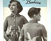 Vintage Wild Duck Cardigan Pattern by Beehive Canadiana No.1005 for Boys or Girls Charted Knitting Pattern with Graphs in Sizes 8, 10, 12