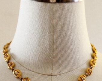 Vintage Oval Rhinestone Link Necklace