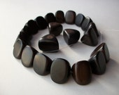"Large chunky dark brown wood triangle beads 12"" strand, almost black wood beads, high quality fine polish wooden beads"