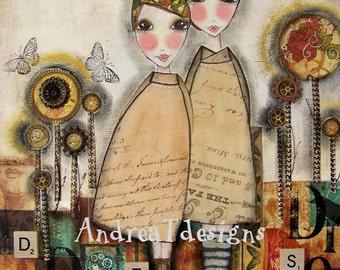DREAMS we SHARE steampunk 5x7 art card PRINT