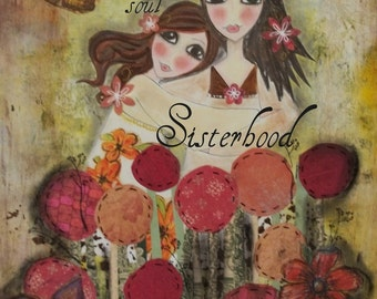 Two HEARTs SISTERS 5x7 ART CARD