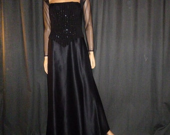 Vintage 80's or 90's -  Tadashi -  Black - Mesh Sleeve - Beaded - Satin - Flowing - Event - Maxi - Gown - Dress - US size 8 =  UK size 10