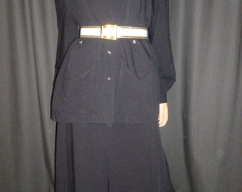 Vintage 40's - Rayon - Black - 2 Piece - Hollywood Regency - Military - Pleated Skirt and Shirt Set - embellished silver tone buttons