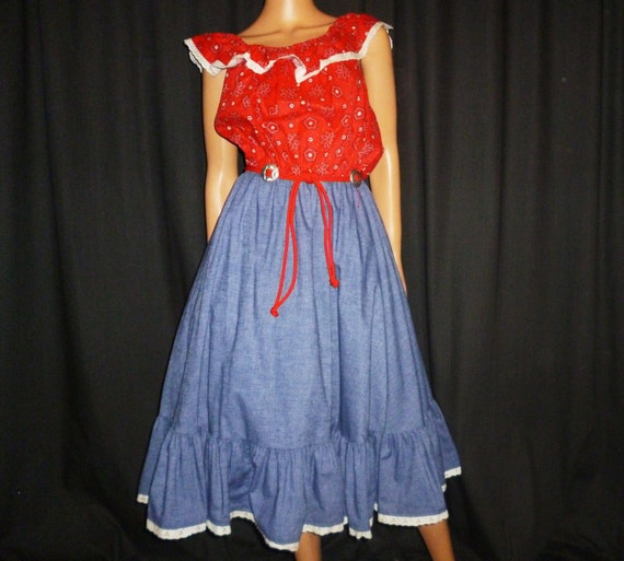 Turned Full CIRCLE Vintage 60's Belted Ruffled Red Bandana Print Denim look Western Full CIRCLE Skirt Pic Nic Dress