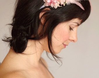 Ballerina pink feather & flowers headband
