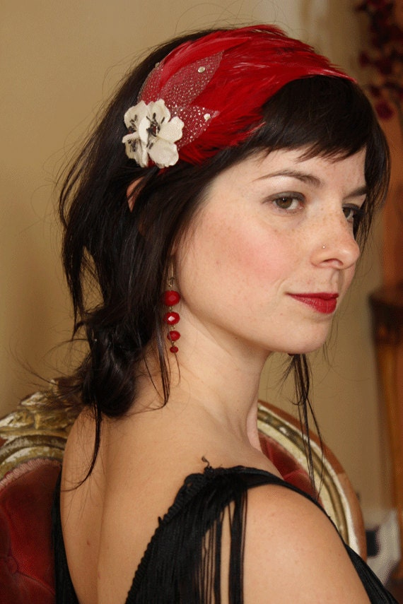 Rose Red Snow White's sister, Crimson feather flapper headband