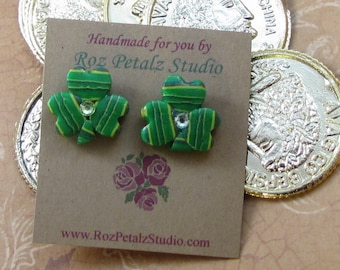 Striped Green Shamrock Post Earrings  - St. Patrick's Day - polymer clay