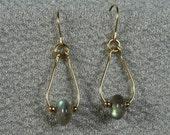 Gold-filled Labradorite Mini-Teardrop Earrings