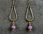 Gold-filled Lepidolite Teardrop Earrings