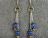 Gold-filled Amethyst, Hematite and Frosted Blue Glass Earrings