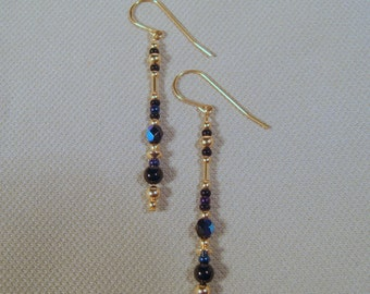 Gold-filled Black Onyx and Iridescent Glass Dangle Earrings
