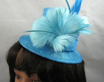 Turquoise Mini Top Hat Fascinator Kentucky Derby Wedding Hat
