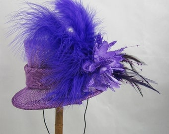 Purple Mini Top Hat Fascinator Kentucky Derby Wedding Hat
