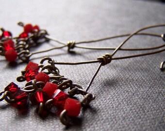 niobium crystal earrings red swarovski for sensitive ears handmade by variya
