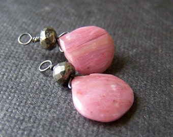 interchangeable gemstone dangles for pure titanium or niobium drop earrings- pink rhodonite silver pyrite